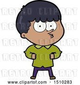 Vector Clip Art of Retro Cartoon Curious Boy by Lineartestpilot