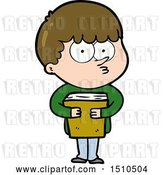 Vector Clip Art of Retro Cartoon Curious Boy Holding a Book by Lineartestpilot