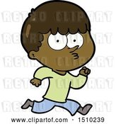 Vector Clip Art of Retro Cartoon Curious Boy Running by Lineartestpilot