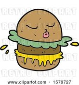 Vector Clip Art of Retro Cartoon Fast Food Burger by Lineartestpilot