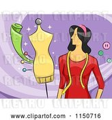 Vector Clip Art of Retro Cartoon Female Fashion Designer by BNP Design Studio