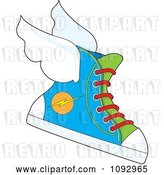 Vector Clip Art of Retro Cartoon Flying Sneaker with a Lightning Bolt Icon by Maria Bell
