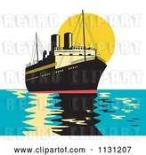 Vector Clip Art of Retro Cartoon Freighter Ship at Sunset by Patrimonio