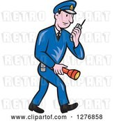 Vector Clip Art of Retro Cartoon Full Length Police Guy Talking on a Walkie Talkie and Holding a Flashlight by Patrimonio