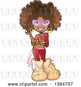 Vector Clip Art of Retro Cartoon Funky Pretty 70s Black Lady with an Afro, Glasses and Big Furry Boots by Clip Art Mascots