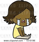 Vector Clip Art of Retro Cartoon Girl Crying Sat on Floor by Lineartestpilot