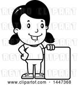 Vector Clip Art of Retro Cartoon Girl with a Blank Sign by Cory Thoman