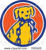 Vector Clip Art of Retro Cartoon Golden Retriever Dog Sitting with a Broken Chain in His Mouth Inside a Circle by Patrimonio