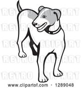 Vector Clip Art of Retro Cartoon Grayscale Jack Russell Terrier Dog by Patrimonio