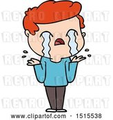 Vector Clip Art of Retro Cartoon Guy Crying by Lineartestpilot