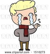 Vector Clip Art of Retro Cartoon Guy Crying Wearing Winter Scarf by Lineartestpilot