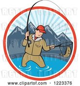Vector Clip Art of Retro Cartoon Guy Fly Fishing in a Mountainous Lake Circle by Patrimonio