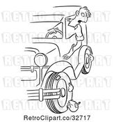 Vector Clip Art of Retro Cartoon Guy Hanging out His Car Window to Find Blown out Tires by Picsburg