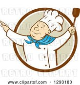 Vector Clip Art of Retro Cartoon Happy White Male Chef Dancing with a Spatula in a Brown White and Tan Circle by Patrimonio