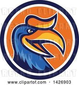 Vector Clip Art of Retro Cartoon Hornbill or Bucerotidae Bird Mascot in a Blue White and Orange Circle by Patrimonio