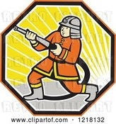 Vector Clip Art of Retro Cartoon Japanese Firefighter with a Hose in a Hexagon of Sunshine by Patrimonio
