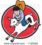 Vector Clip Art of Retro Cartoon Junior Rodeo Cowboy on a Sheep over a Red Oval by Patrimonio