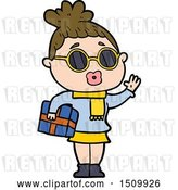 Vector Clip Art of Retro Cartoon Lady Wearing Sunglasses by Lineartestpilot