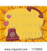 Vector Clip Art of Retro Cartoon Landline Telephone with Hearts and Copyspace by BNP Design Studio