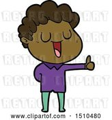 Vector Clip Art of Retro Cartoon Laughing Guy Giving Thumbs up Sign by Lineartestpilot