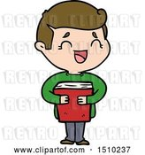 Vector Clip Art of Retro Cartoon Laughing Guy Holding Book by Lineartestpilot