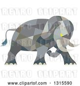 Vector Clip Art of Retro Cartoon Low Poly Geometric Angry Elephant Ready to Attack by Patrimonio