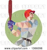 Vector Clip Art of Retro Cartoon Low Polygon Style Style Baseball Player Batting in a Green Circle by Patrimonio