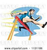 Vector Clip Art of Retro Cartoon Male Athlete Jumping a Hurdle 3 by Patrimonio