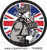 Vector Clip Art of Retro Cartoon Male Bagpiper in a Union Jack Flag Circle by Patrimonio