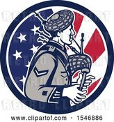 Vector Clip Art of Retro Cartoon Male Bagpiper in an American Flag Circle by Patrimonio