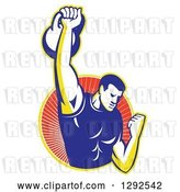 Vector Clip Art of Retro Cartoon Male Bodybuilder Lifting a Kettlebell and Emerging from a Yellow and Red Ray Circle by Patrimonio