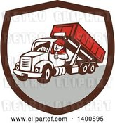 Vector Clip Art of Retro Cartoon Male Dump Truck Driver Giving a Thumb up in a Brown White and Gray Shield by Patrimonio