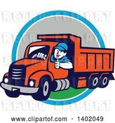 Vector Clip Art of Retro Cartoon Male Dump Truck Driver Giving a Thumb up over a Blue White and Gray Circle by Patrimonio