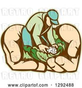 Vector Clip Art of Retro Cartoon Male Gardener with Vegetables in Giant Hands by Patrimonio