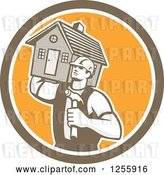Vector Clip Art of Retro Cartoon Male Home Builder Carrying a House and Hammer in a Circle by Patrimonio