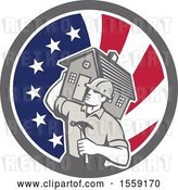Vector Clip Art of Retro Cartoon Male Home Builder Carrying a House and Hammer in an American Flag Circle by Patrimonio