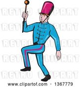 Vector Clip Art of Retro Cartoon Male Marching Band Leader Holding a Baton by Patrimonio