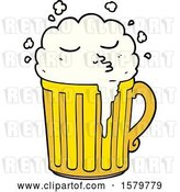 Vector Clip Art of Retro Cartoon Mug of Beer by Lineartestpilot