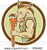 Vector Clip Art of Retro Cartoon Muscular Donkey Guy Plumber Holding a Monkey Wrench in a Brown White and Green Circle by Patrimonio