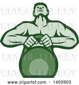 Vector Clip Art of Retro Cartoon Muscular Male Bodybuilder Athlete Lifting a Kettlebell, in Green Tones by Patrimonio
