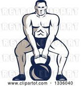 Vector Clip Art of Retro Cartoon Muscular Male Bodybuilder Athlete Squatting with a Kettlebell by Patrimonio