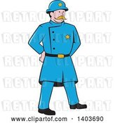 Vector Clip Art of Retro Cartoon New York Police Guy Standing with Hands Behind His Back by Patrimonio