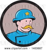 Vector Clip Art of Retro Cartoon New York Police Guy with a Mustache, in a Circle by Patrimonio