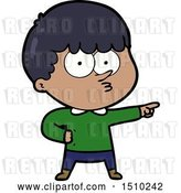 Vector Clip Art of Retro Cartoon Pointing Boy by Lineartestpilot