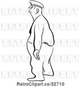 Vector Clip Art of Retro Cartoon Police Guy or Guard Facing Left by Picsburg