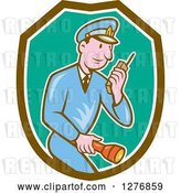 Vector Clip Art of Retro Cartoon Police Guy Talking on a Walkie Talkie and Holding a Flashlight in a Brown White and Turquoise Shield by Patrimonio