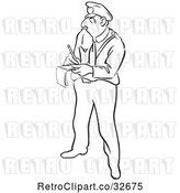 Vector Clip Art of Retro Cartoon Police Officer Writing a Ticket by Picsburg