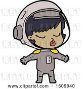 Vector Clip Art of Retro Cartoon Pretty Astronaut Girl by Lineartestpilot