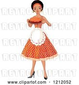 Vector Clip Art of Retro Cartoon Pretty Black Black Lady an Apron and Polka Dot Dress, Holding a Cake by Pushkin