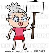 Vector Clip Art of Retro Cartoon Protester Lady Wearing Spectacles by Lineartestpilot